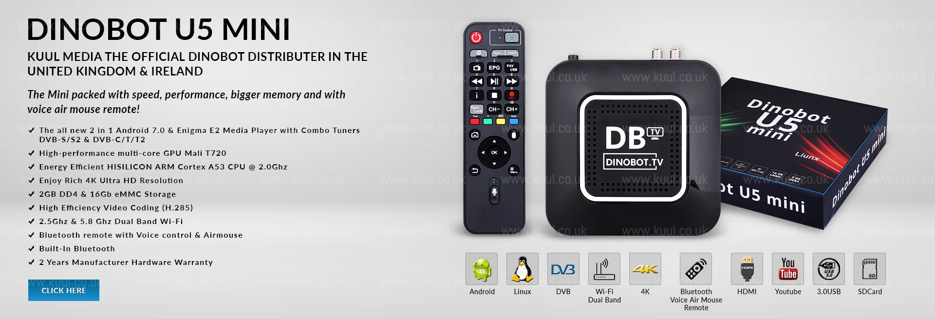 Dinobot TV 4K Dual Boot Enigma2 and Android Set Top Box IPTV Player