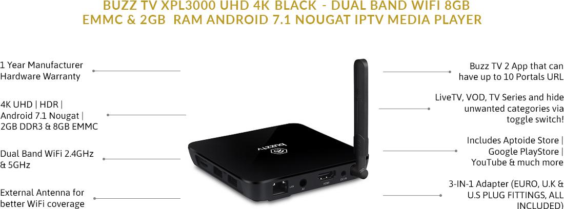 BuzzTV XPL3000 UHD 4K Black - Dual Band WiFi 8GB eMMC & 2GB RAM